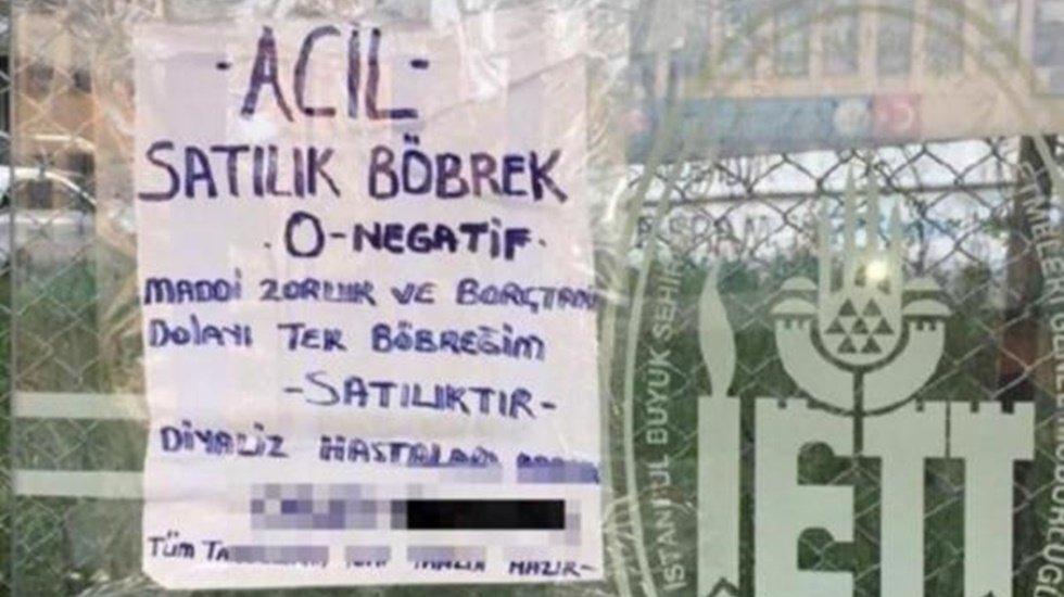 İşte kriz gerçeği! Otobüs duraklarında 'satılık böbrek' ilanı