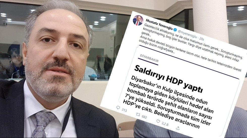 AKP'li vekilden Yeni Şafak'ın: 'Kulp saldırısını HDP yaptı' haberine tepki